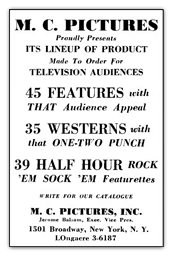 M.C. Pictures advert 1956